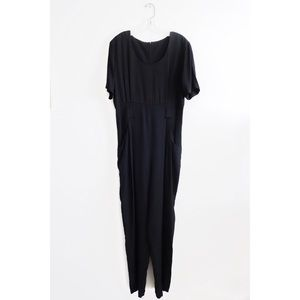 Vintage Minimalist Black Jumpsuit fit M L 8 10